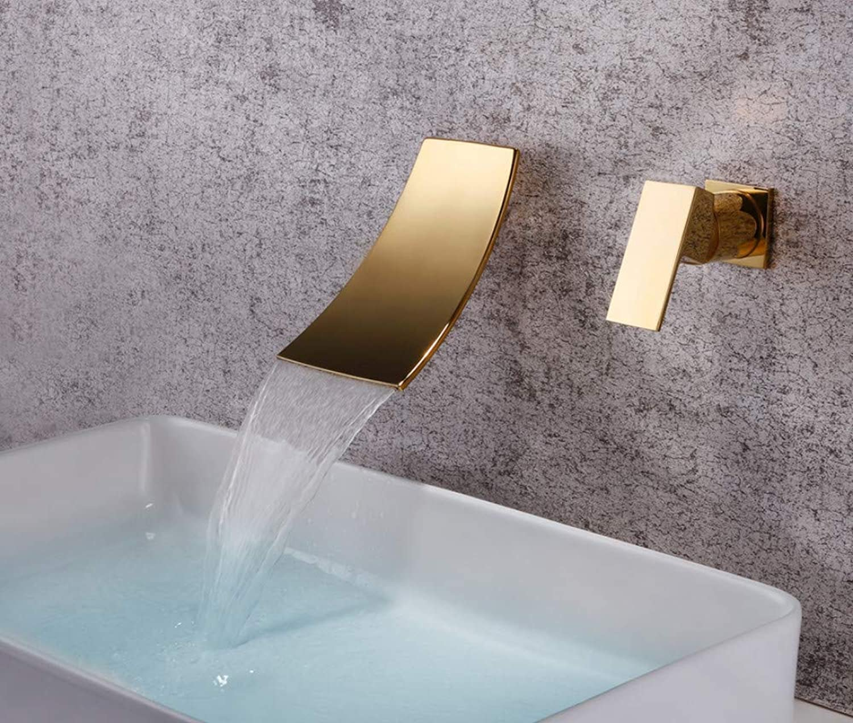 ROTOOY DIY Bad Waschbecken Wasserhhne Wasserhahn Wasserhahn Gold mit Wasserfall Wasserhahn Dunkel Wandmontierte Einhand Badewanne Warm und Kalt Wasserhahn Eingebettet