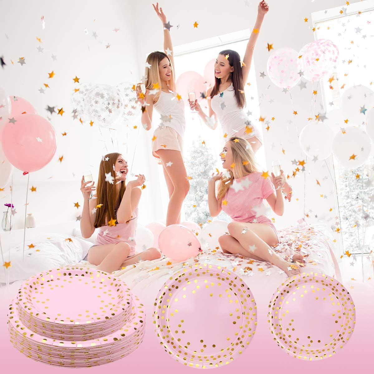 24 Ospiti Set Piatti Biodegradabili Rosa Oro Bicchieri Tovaglioli Cannucce Tovaglia per Festa Compleanno 13 Anni 1 Anno Baby Shower Girl Anniversari Fidanzamento Doccia Nuziale Piatti Carta Rosa