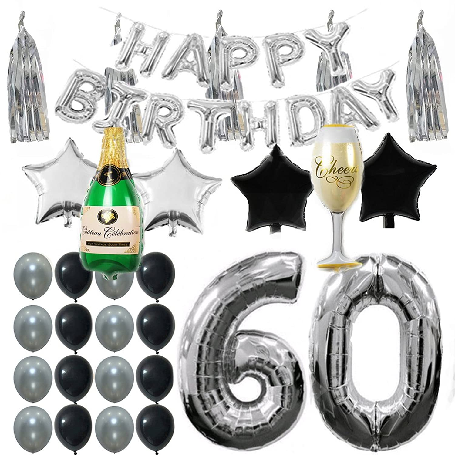 Ezing 60th B-Day Party Supplies Decorations Kit Pack , Silver Tone Tassel and Happy Birthday Letters with Latex & Star Foil Balloons (60th)