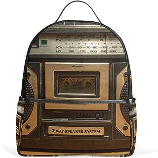 Backpacks for Elementary, Vintage Radio Cassette Recorder School Bags for Girls Boys Book Bags Small for Grade 1-3