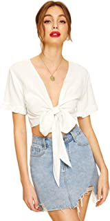 Women's Summer Printed V Neck Bow Tie Crop Top Blouse