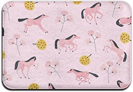 Soft Non-slip Pink Horse In The Meadow Bath Mat Coral Rug Door Mat Entrance Rug Floor Mats For Front Outside Doors Entry Carpet 40 X 60 Cm.