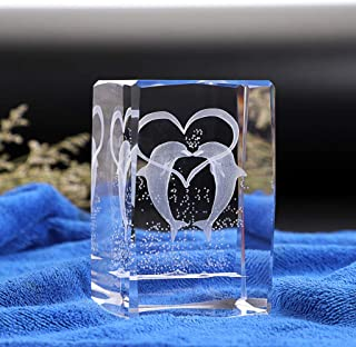 OwnMy Crystal Glass 3D Laser Cube Model Engraving Figurines, Crystal Dolphin Paperweight Glass Centerpieces Decoration wit...