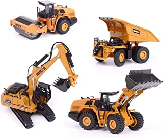 Construction Toys, Pack of 4, 1:60 Scale Construction Vehicle Models Including Excavator + Dump Truck + Bulldozer + Road R...