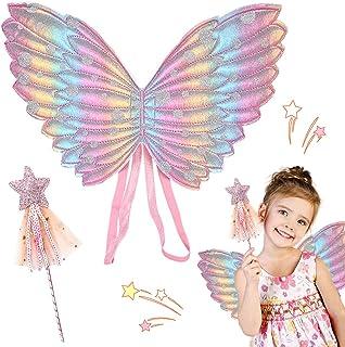 Hilloly 2 Pièces Déguisement Fée Enfant Costume Papillon Fille Ailes Ensemble Baguette Magique et Ailes de Fée pour Enfant...
