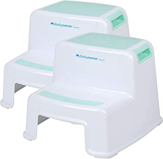 Step Stool 2 Pack for Kids and Toddlers by Babysense Care | Potty Training Toilet Stool 2 Steps Up (Dual Height) | Wide & Slip Resistant | Soft Grip for Safety | Bathroom & Kitchen Stepping Stool