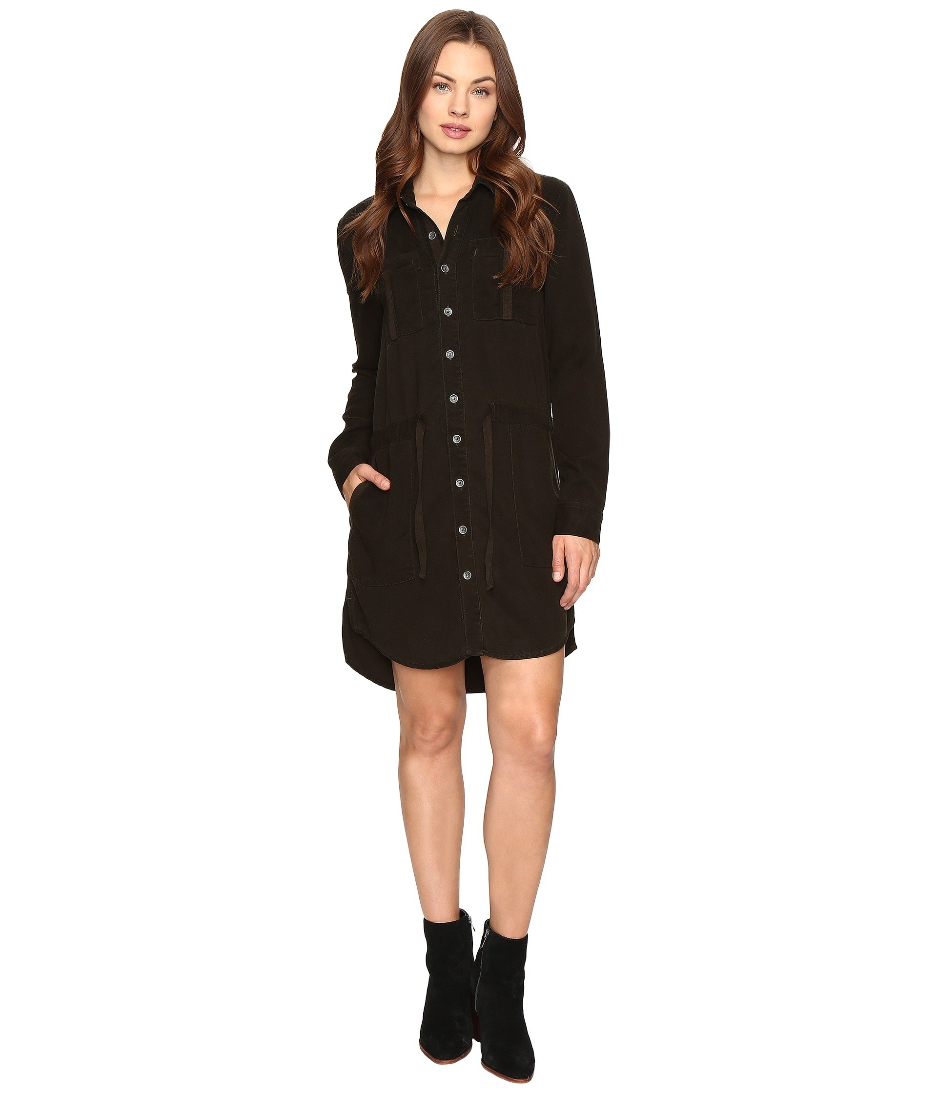 Peyton Military Shirt Dress - Unrestrained Black