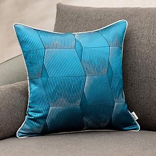 Yangest 18 x 18 Inch Rustic Seashell Textured Satin Square Throw Pillow Cover Plaid Striped Cushion Case Luxury Modern Dec...