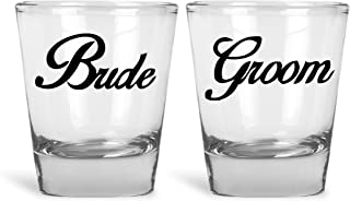Bride And Groom Couples Funny Novelty Shot Glasses   Great for Bride, Groom, Bachelor and Bachelorette Party by Mad Ink Fashions