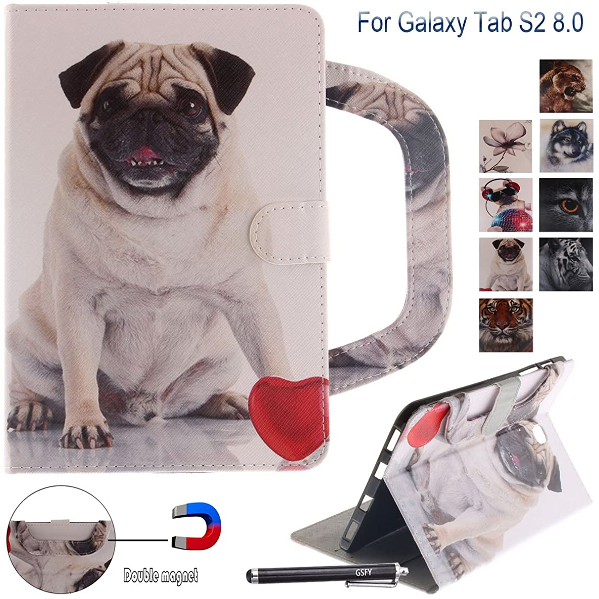 Galaxy Tab S2 8.0 Case, Newshine Portable Type PU Leather Magnetic Folio Wallet Cover with Card Holder for 2015 Samsung Galaxy Tab S2 Tablet (8.0 inch, SM-T710 T715), Pug pavs4521005384