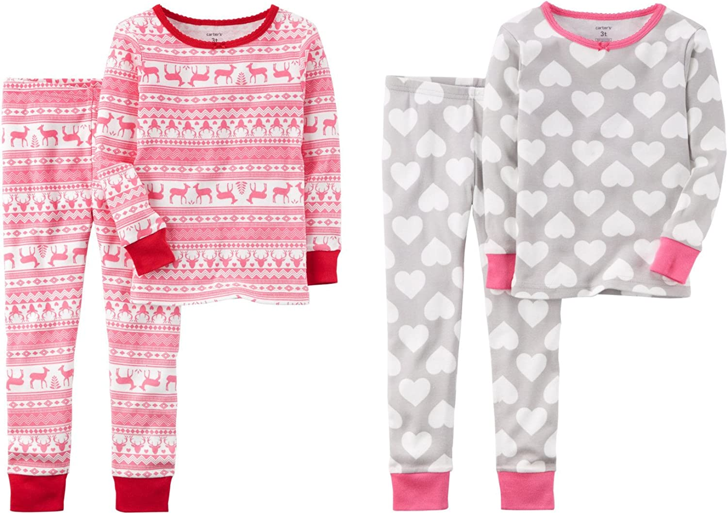 Carter's Toddler and Little Girls 4 Piece Snug Fit Long Sleeve Cotton Pajamas (6, Pink Fair Isle and Grey Hearts)