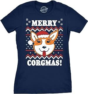 Womens Merry Corgmas Corgi Dog Ugly Christmas Sweater T Shirt Navy