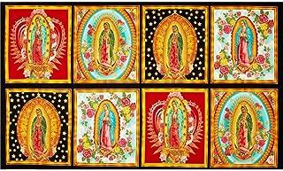 Robert Kaufman Inner Faith Metallic Mary Statues Bright 24in Panel Multi Fabric