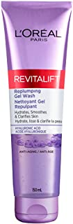 L'Oreal Paris Revitalift Replumping Gel Face Wash Cleanser With Hyaluronic Acid, Suitable for Sensitive Skin, 150 Ml, 150 ...