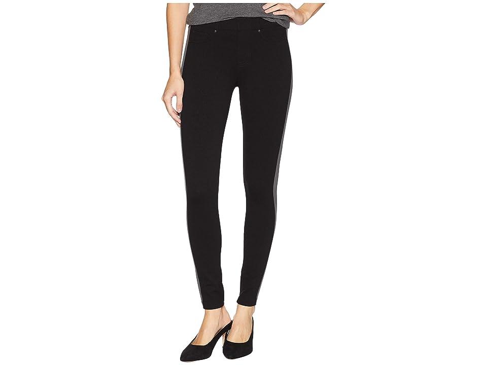 Liverpool Chloe Ankle Leggings Stripe in Super Stretch Ponte Knit (Black Magnet) Women