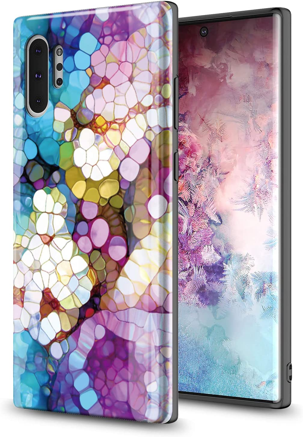 GORGCASE Case Design for Samsung Galaxy Note 10+ Plus/Note 10 Plus 5G, Slim Fashion Anti-Scratch Shook-Proof PC TPU Armor Cute Teen Girls Women Drop Protective Cover Colorful Marble