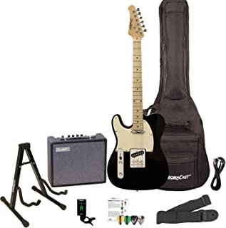Sawtooth ST-ET-LH-BKW-KIT-3 Left Handed Electric Guitar, Black with Aged White Pickguard