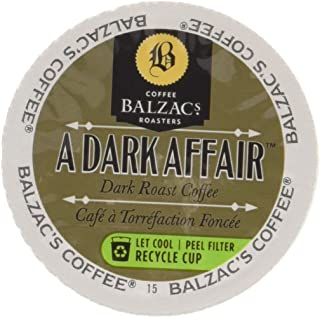 Balzac's Coffee Single Serve Capsules, A Dark Affair, 100% Arabica Dark Roast, Compatible with Keurig K-Cup Brewers, 24 Count