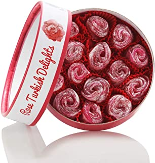 Turkish Delights with Authentic Rose Hand Made Gourmet Sweet Box Candy Dessert 12 ounce 15 Rose Bud Large Confectionery Treats by Marmara