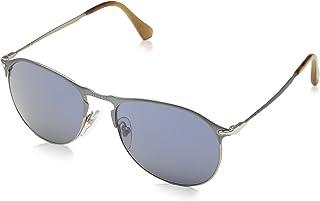 Persol PO 7649S_107 Light Brown Metal Aviator Sunglasses Blue Lens