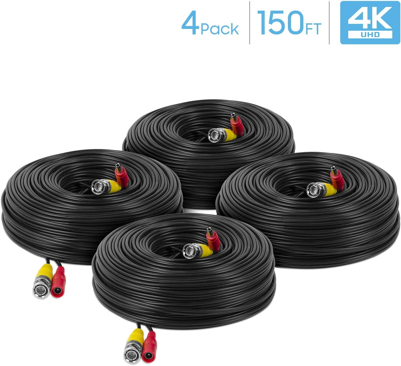 Amcrest 4-Pack 4K Security Camera Cable 150FT BNC Cable, Camera Wire CCTV, Pre-Made All-in-One Video and Power Cable for Security Camera, HDCVI, HDTVI Camera, Analog, DVR (4PACK-SCABLE4K150B-PP)