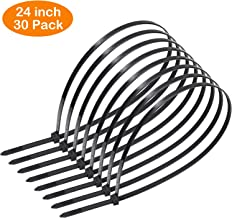 OneLeaf Cable Ties 24 Inch Heavy Duty Zip Ties with 200 Pounds Tensile Strength for Multi-Purpose Use, Self-Locking UV Resistant Nylon Tie Wraps, Indoor and Outdoor Tie Wire.30 Pcs Black