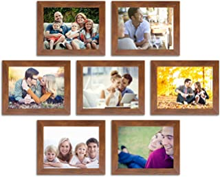 Painting Mantra 7 Art Street Parallel Lingered Set of 7 Individual Photo Frame/Wall Hanging for Home Décor - Brown