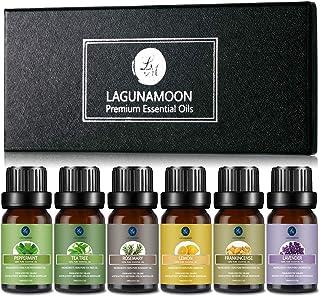 Lagunamoon Essential Oils,Top 6 Aromatherapy Oils Lavender Tea Tree Peppermint Rosemary Lemon Frankincense Therapeutic Ess...