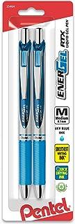 Pentel Gel Ink Pen, EnerGel RTX Retractable Gel Pen, Medium Point, Metal Tip, Sky Blue Ink, 2 Pack (BL77BP2S)