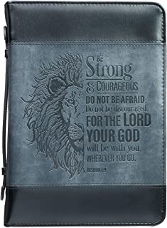 Be Strong Lion Two-Tone Black Bible Cover - Joshua 1:9 - Large