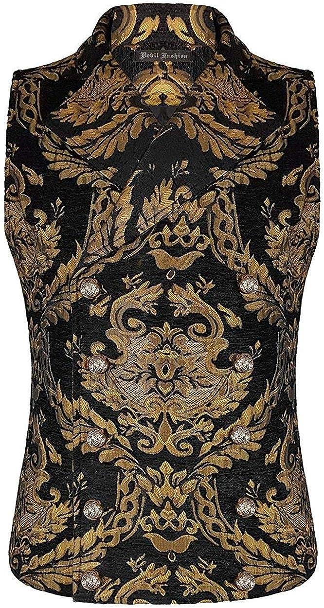 Devil Fashion Mens Vest Waistcoat Black Gold Damask Gothic Steampunk Aristocrat Stage Performance Party Wedding Suits