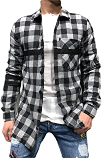 YYG Mens Blouse Shirt Casual Button Down Pockets Relaxed Fit Long Sleeve Plaid Checkered Shirt