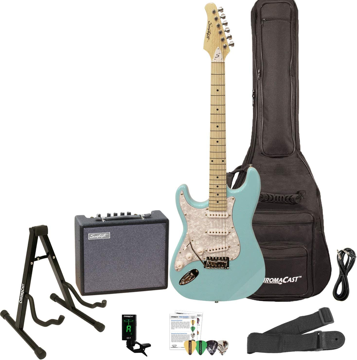 Sawtooth Left Handed ST Style Electric Pear Fashion Daphne Blue Free Shipping New w Guitar
