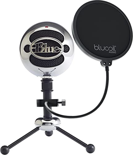 wholesale Blue wholesale Snowball USB Microphone with new arrival Metal Mic Stand for Podcasting, Live Streaming, Skype/VOIP Calls, Music Recording on Windows and Mac (Brushed Aluminum) Bundle with Blucoil Pop Filter Windscreen sale