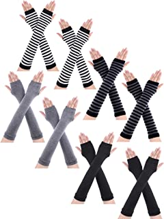 8 Pairs Winter Knitted Fingerless Gloves Long Thumb Hole Arm Warmer for Women Girls