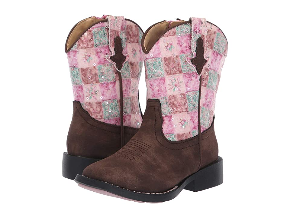 Roper Kids Floral Shine (Toddler) (Brown Faux Leather Vamp/Pink/Turquoise) Cowboy Boots