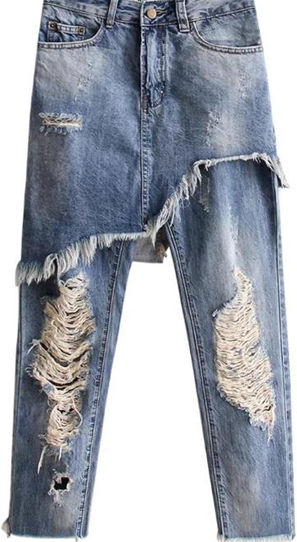 Henraly Women's Broken Hole Cowboy Light color Denim Pants Ladies' Pants 191041