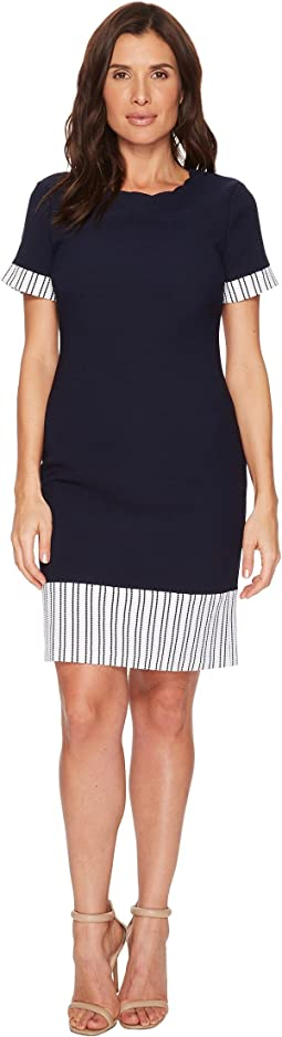 Ivanka Trump Knit Short Sleeve Scalloped Neck Line Dress