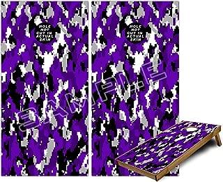 Cornhole Bag Toss Game Board Vinyl Wrap Skin Kit - WraptorCamo Digital Camo Purple (fits 24x48 game boards - Gameboards NOT INCLUDED)