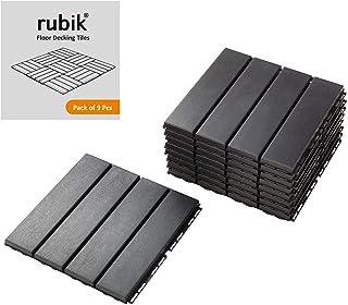 Rubik Polypropylene Plastic Outdoor Floor Decking and Patio Interlocking Tile Flooring Pavers Composite Decking- Pack of 9...