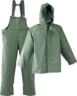 Galeton 7954-4XL-GR 7954 Repel Rainwear 0.50 mm PVC 3-Layer Fisherman's Rain Suit, 4X-Large, Green