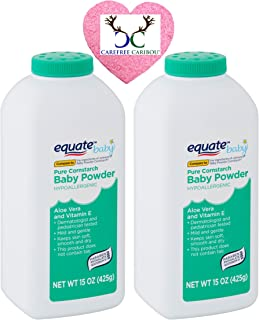 Pure Cornstarch Baby Powder Bundle. Includes Two 15oz Canisters of Equate Hypoallergenic Pure Cornstarch Baby Powder with ...