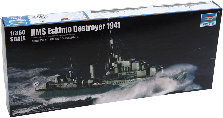 Trumpeter HMS Eskimo WWII British Tribal Class Destroyer Ship Model Kit (1941), Scale 1 350