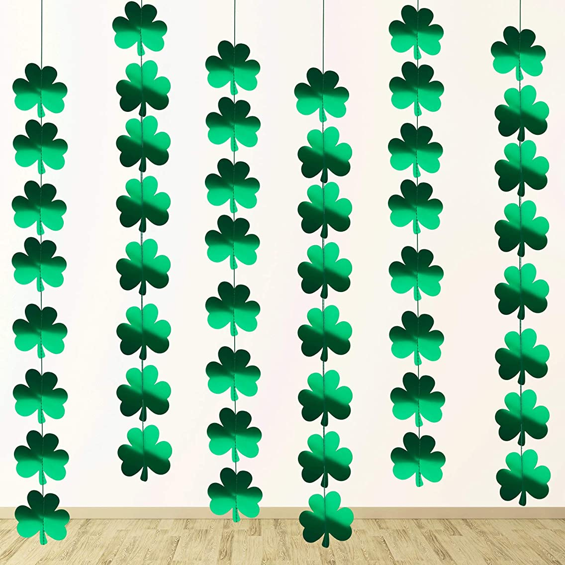 Zhanmai 48 Pieces Shamrock Clover Garland Banner Hanging Shamrock Garland PVC Clover Banner for Party Supplies St. Patrick's Day Decoration (Small Style B)