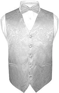 Men's Paisley Design Dress Vest & Bow Tie Silver Grey Color Bowtie Set