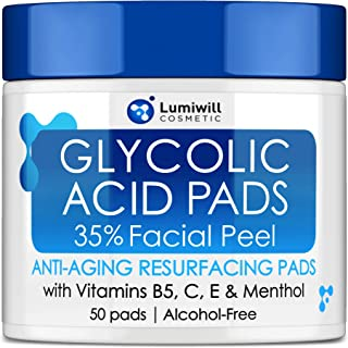Glycolic Acid Pads 35% - AHA Glycolic Acid Peel Pads with Vitamin B5, C, E - Natural Glycolic Acid Peel for...