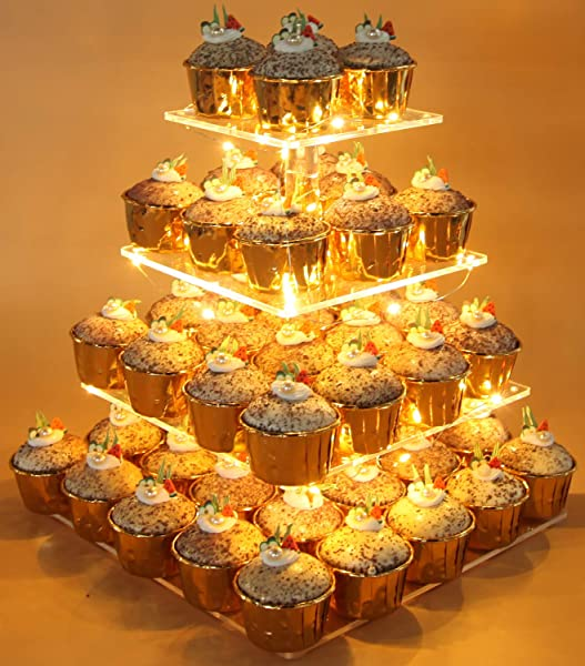 Vdomus Pastry Stand 4 Tier Acrylic Cupcake Display Stand With LED String Lights Dessert Tree Tower For Birthday Wedding Party Warm