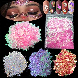 4Pack 60g Iridescent Chunky Glitter Holographic Silver Iridescent Purple Pink Makeup Glitter Sequins Festival Cosmetic Bod...