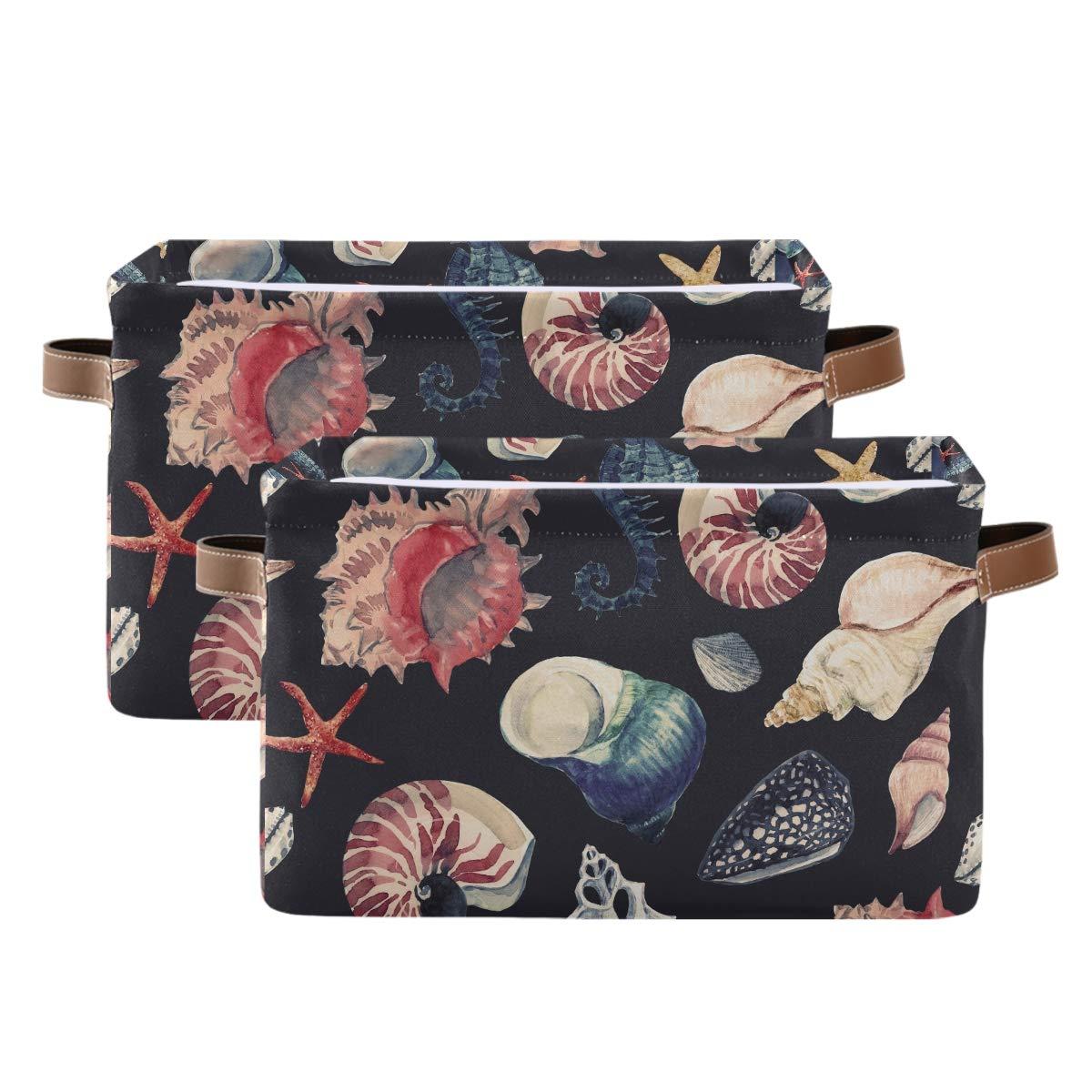 Kelekey Watercolor Sea Max 83% OFFer OFF Seashell Starfish Co Storage Basket Large
