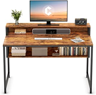 """Cubiker Computer Home Office Desk, 47"""" Small Desk Table with Storage Shelf and Bookshelf, Study..."""